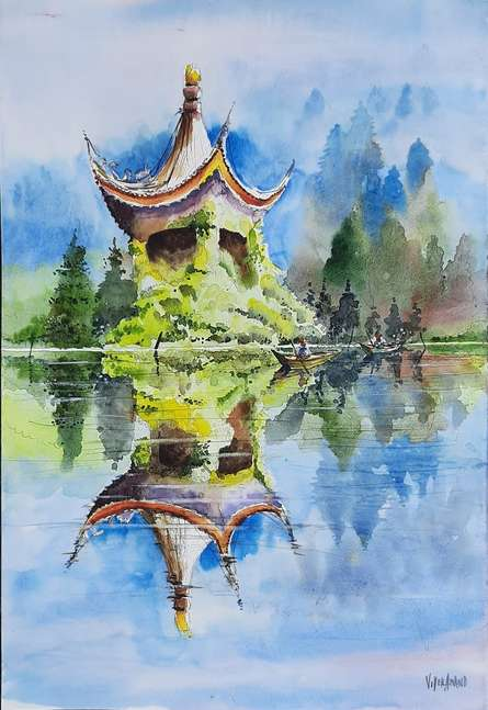 Landscape Watercolor Art Painting title Ivy Temple-Xian, China by artist Vivekanand Viswam