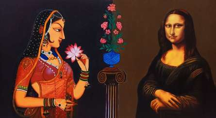 Figurative Oil Art Painting title Beauty by artist Shrabani Maity