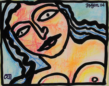 Figurative Mixed-media Art Painting title Face by artist Jogen Chowdhury
