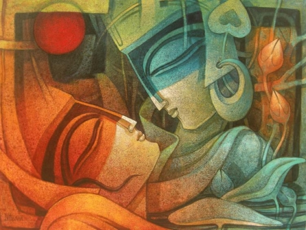 Egyptian King and Queen II | Painting by artist Nityam Singha Roy | acrylic | Canvas