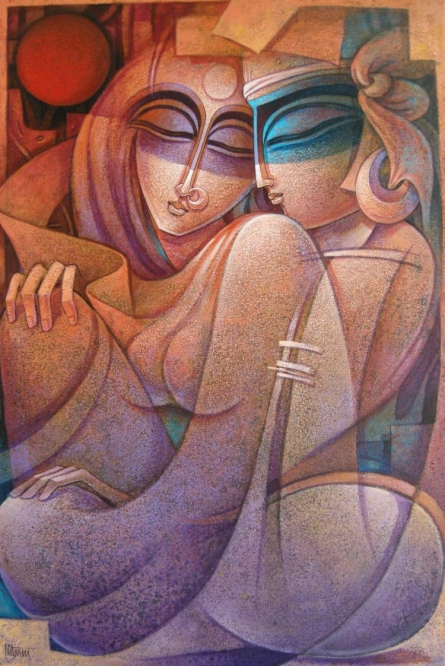 Figurative Acrylic Art Painting title 'Egyptian King and Queen V' by artist Nityam Singha Roy