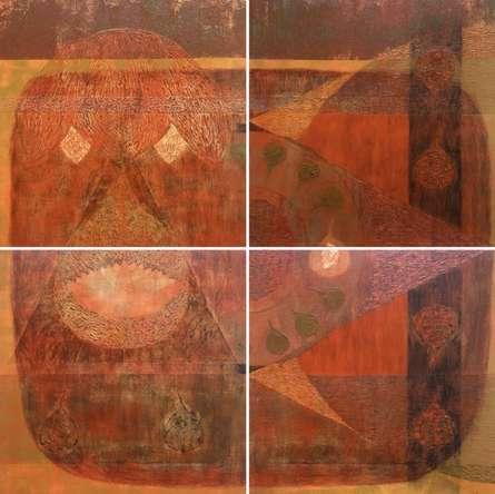 Religious Mixed-media Art Painting title Amitayurdhyāna by artist Anand Pratap