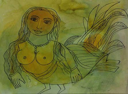 Nude Watercolor Art Painting title Kinnara by artist Badri Narayan