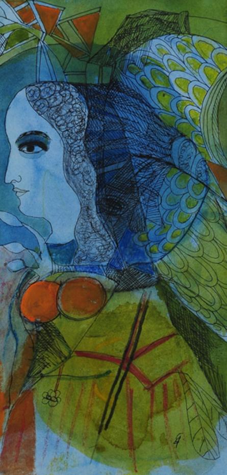 Figurative Watercolor Art Painting title Kinnara 1 by artist Badri Narayan