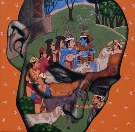 Figurative Acrylic Art Painting title Romance In Monsoon 2 by artist Vijay Shelar