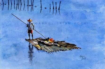 Figurative Watercolor Art Painting title Alone 2 by artist Abdul Salim