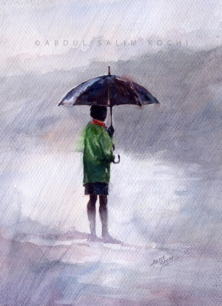 Figurative Watercolor Art Painting title Alone At Rain by artist Abdul Salim