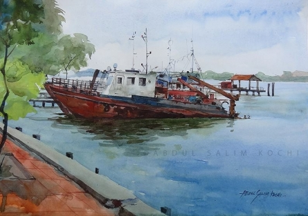 Seascape Watercolor Art Painting title At Rest by artist Abdul Salim