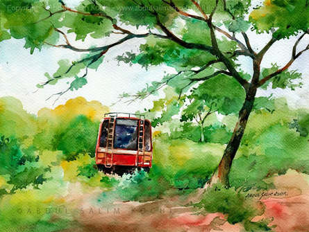 Landscape Watercolor Art Painting title At Rest 2 by artist Abdul Salim