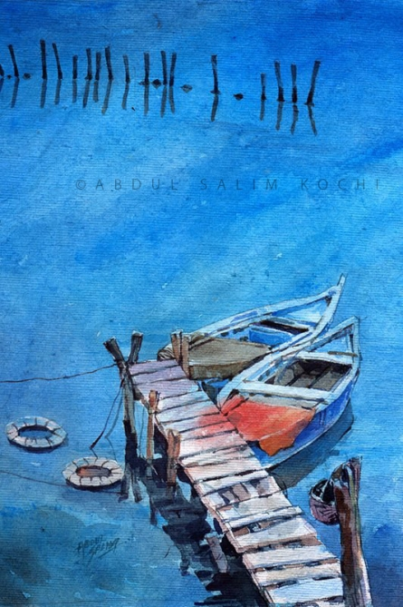 Seascape Watercolor Art Painting title Blue Boats by artist Abdul Salim