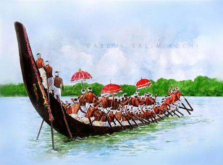 Seascape Watercolor Art Painting title Boat Race 2 by artist Abdul Salim