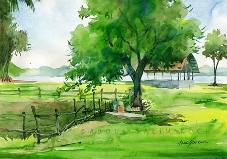 Nature Watercolor Art Painting title Bolgatty by artist Abdul Salim