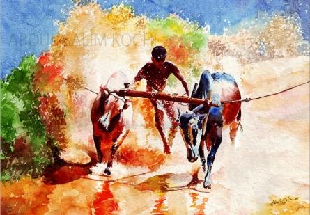 Figurative Watercolor Art Painting title Bullock Race by artist Abdul Salim