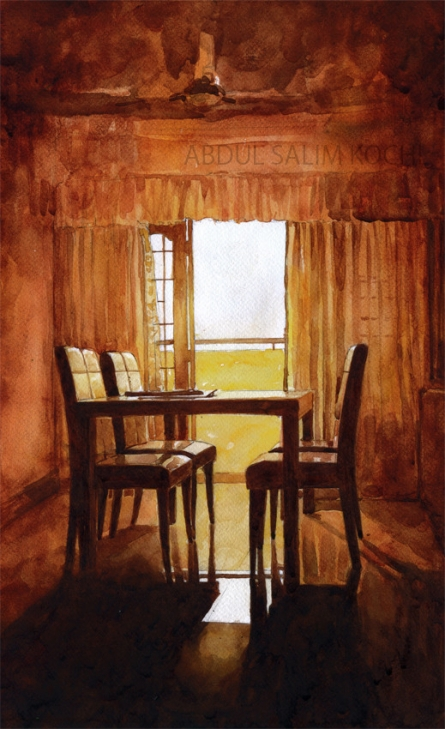 Still-life Watercolor Art Painting title Chairs by artist Abdul Salim