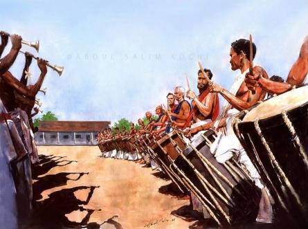 Religious Watercolor Art Painting title Chendamelam by artist Abdul Salim