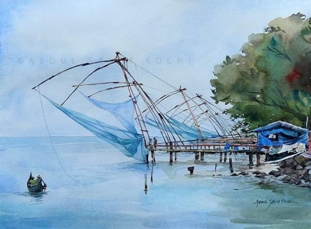 Seascape Watercolor Art Painting title Chinese Net by artist Abdul Salim