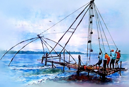 Seascape Watercolor Art Painting title Chinese Net 2 by artist Abdul Salim