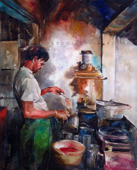 Figurative Watercolor Art Painting title Daily Life by artist Abdul Salim