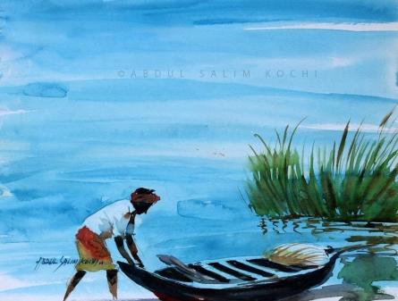 Figurative Watercolor Art Painting title Fisherman by artist Abdul Salim