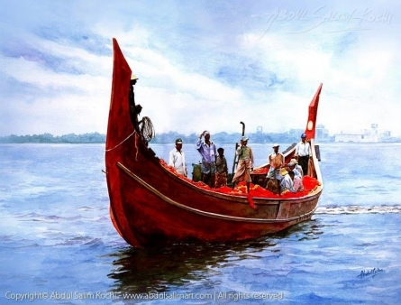 Seascape Watercolor Art Painting title Fishing by artist Abdul Salim