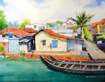 Landscape Watercolor Art Painting title Fort Kochi Canal by artist Abdul Salim