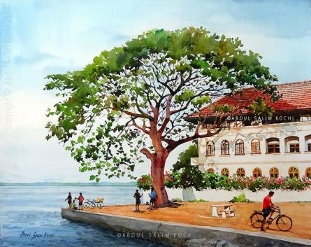Cityscape Watercolor Art Painting title Fort Kochi Jankar Jetty by artist Abdul Salim