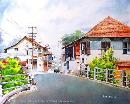 Cityscape Watercolor Art Painting title Fort Kochi Street by artist Abdul Salim