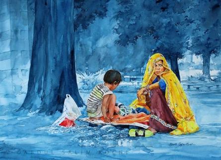 Figurative Watercolor Art Painting title Gypsies 2 by artist Abdul Salim
