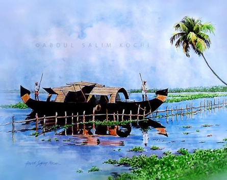 Seascape Watercolor Art Painting title House Boat 1 by artist Abdul Salim