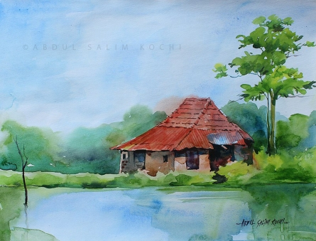 Landscape Watercolor Art Painting title Kerala Landscape 2 by artist Abdul Salim