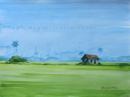 Landscape Watercolor Art Painting title Kerala Landscape 3 by artist Abdul Salim