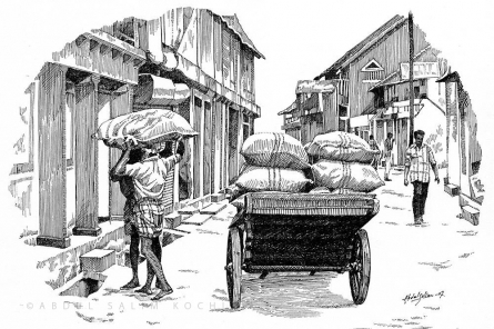 Cityscape Pen Art Drawing title Mattanchery Bazar by artist Abdul Salim