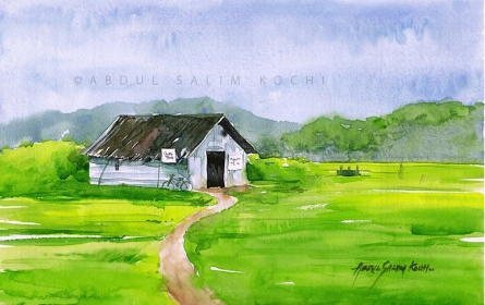 Landscape Watercolor Art Painting title Old House by artist Abdul Salim