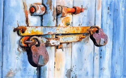 Still-life Watercolor Art Painting title Old Lock by artist Abdul Salim