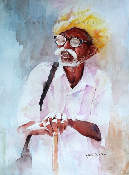 Portrait Watercolor Art Painting title Old Man by artist Abdul Salim