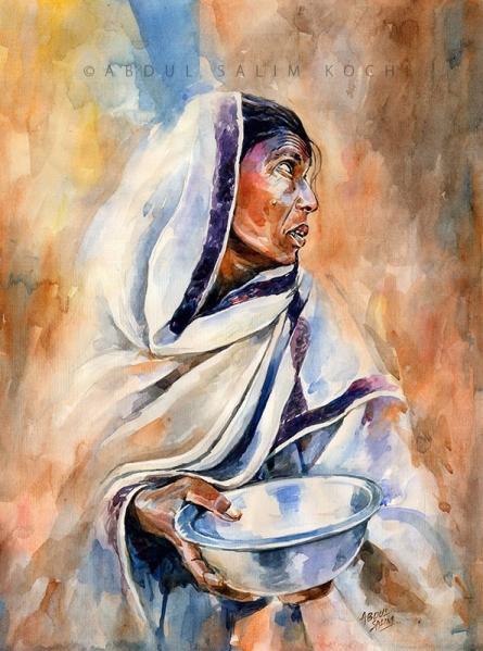 Portrait Watercolor Art Painting title Seeking Mercy by artist Abdul Salim