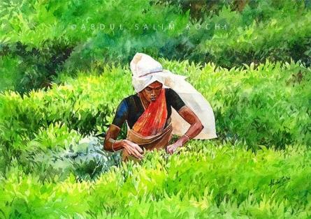 Figurative Watercolor Art Painting title Tea Estate by artist Abdul Salim
