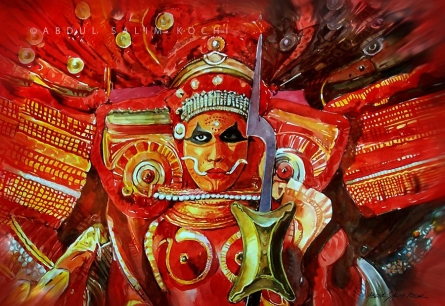 Religious Watercolor Art Painting title Theyyam by artist Abdul Salim