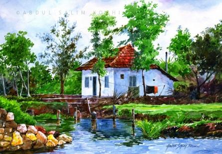Landscape Watercolor Art Painting title Village House by artist Abdul Salim