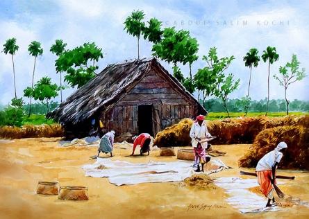 Cityscape Watercolor Art Painting title Village Kerala by artist Abdul Salim