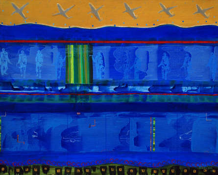 contemporary Acrylic Art Painting title Aeroplane In Sky by artist Nitasha Jaini