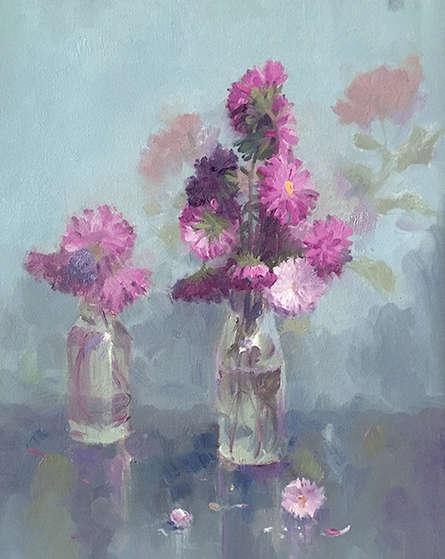 Still-life Oil Art Painting title Auters by artist Paresh Thukrul