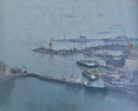Seascape Oil Art Painting title Nevy Dockyard by artist Paresh Thukrul