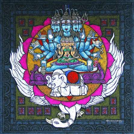Vishuddha Chakra Copy | Mixed_media by artist Kunuu Bhushayya | Canvas
