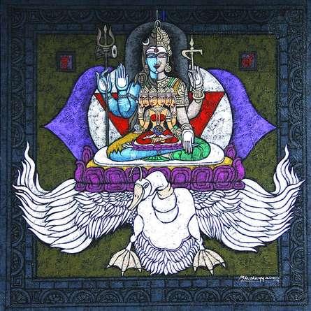 Agnya Chakra Copy | Mixed_media by artist Kunuu Bhushayya | Canvas