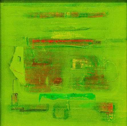 Abstract Acrylic Art Painting title Space Within 1 by artist Prasad Mane