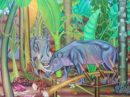 Animals Oil Art Painting title Just Before Trap by artist Rejeesh Sarovar