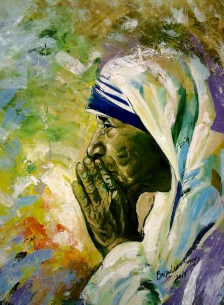 Bahadur Singh | Oil Painting title Mother on Canvas | Artist Bahadur Singh Gallery | ArtZolo.com