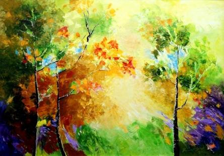 Landscape Oil Art Painting title Autumn by artist Bahadur Singh