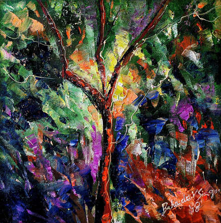 Bahadur Singh | Oil Painting title Autumn Small 2 on Canvas | Artist Bahadur Singh Gallery | ArtZolo.com
